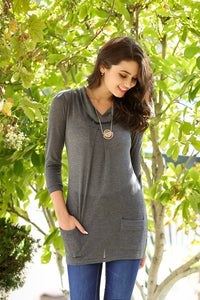 Cowl Neck Pocket Knit Tunic