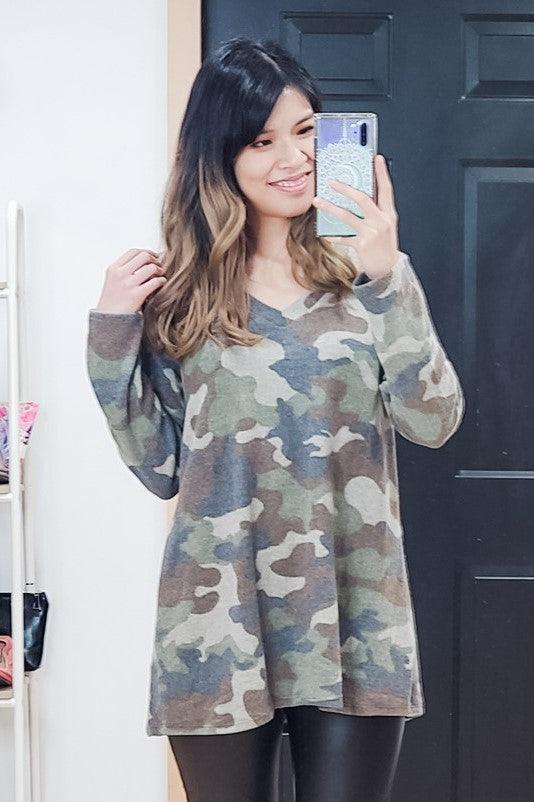 Camo V Neck Sweater Top