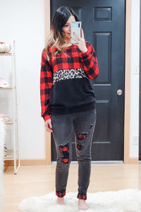 Black Buffalo Plaid Patch Skinny Jeans
