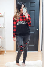 Load image into Gallery viewer, Black Buffalo Plaid Patch Skinny Jeans