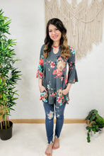 Load image into Gallery viewer, Keyhole Bell Sleeve Floral Tunic Top