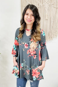Keyhole Bell Sleeve Floral Tunic Top