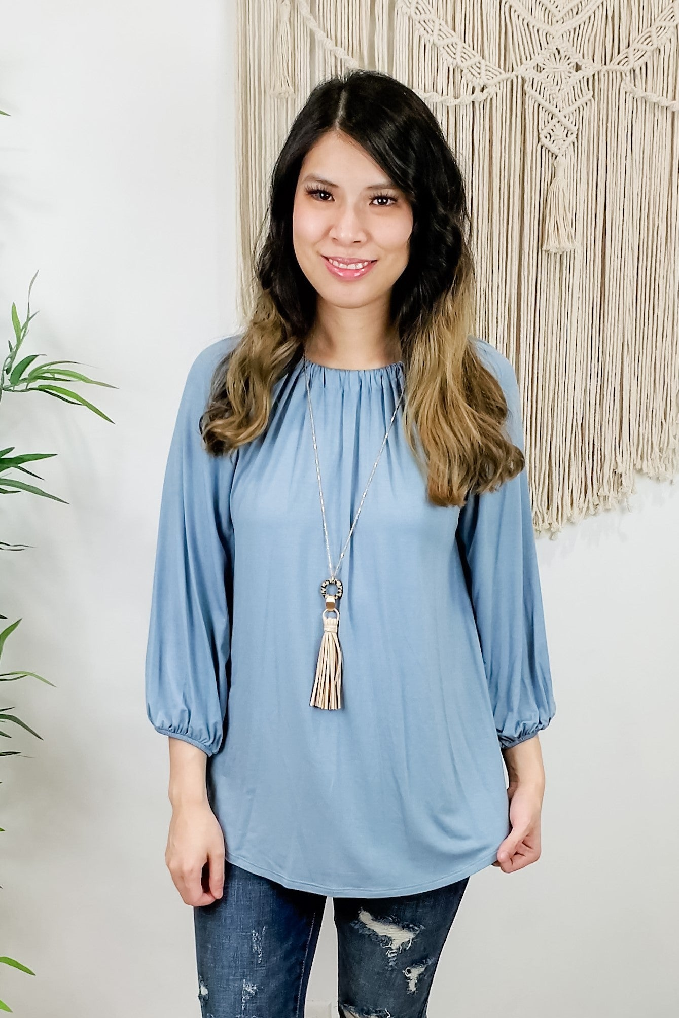 Soft Blue Balloon Sleeve Tie Back Blouse