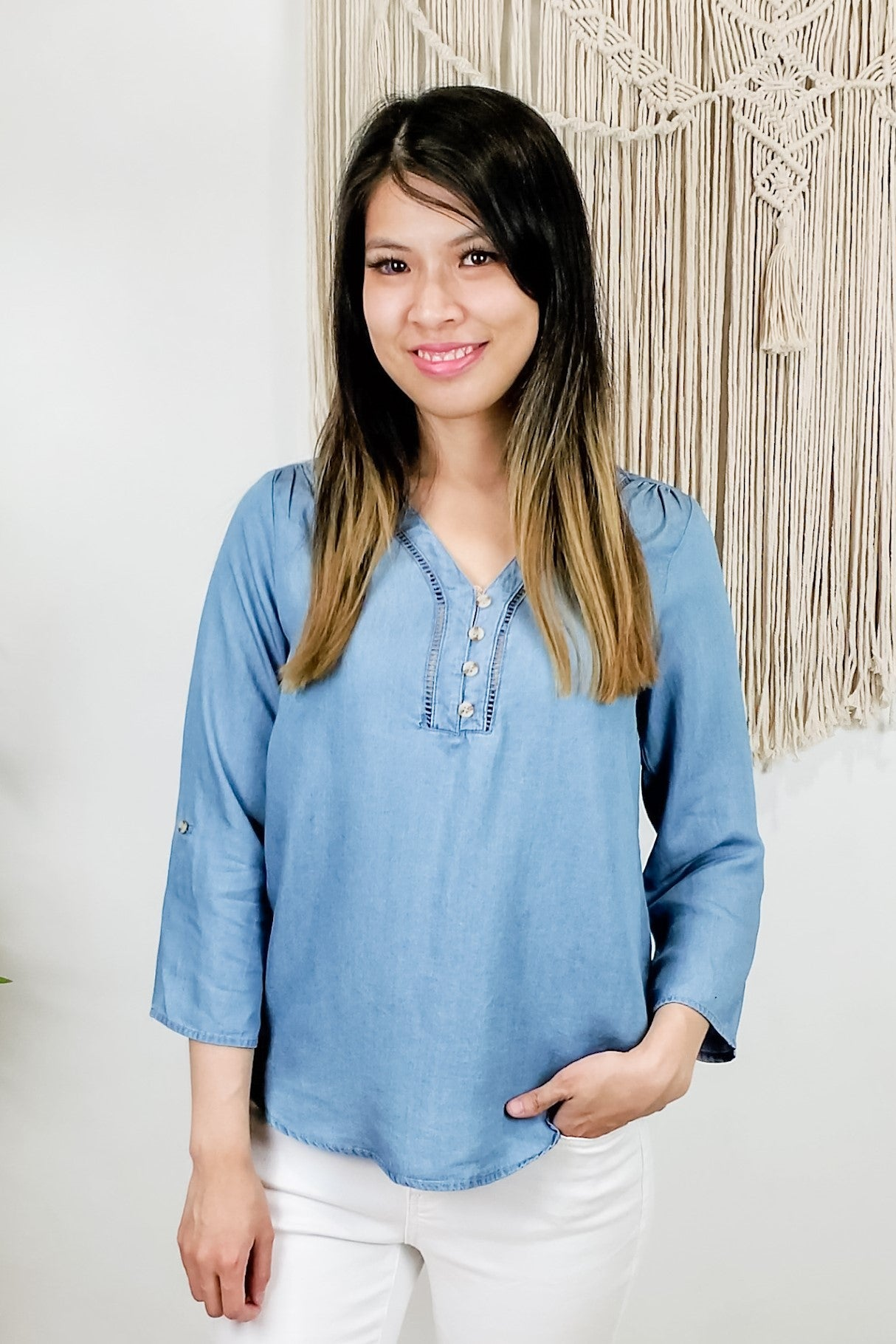 Soul Sister V Neck Chambray Button Down Top