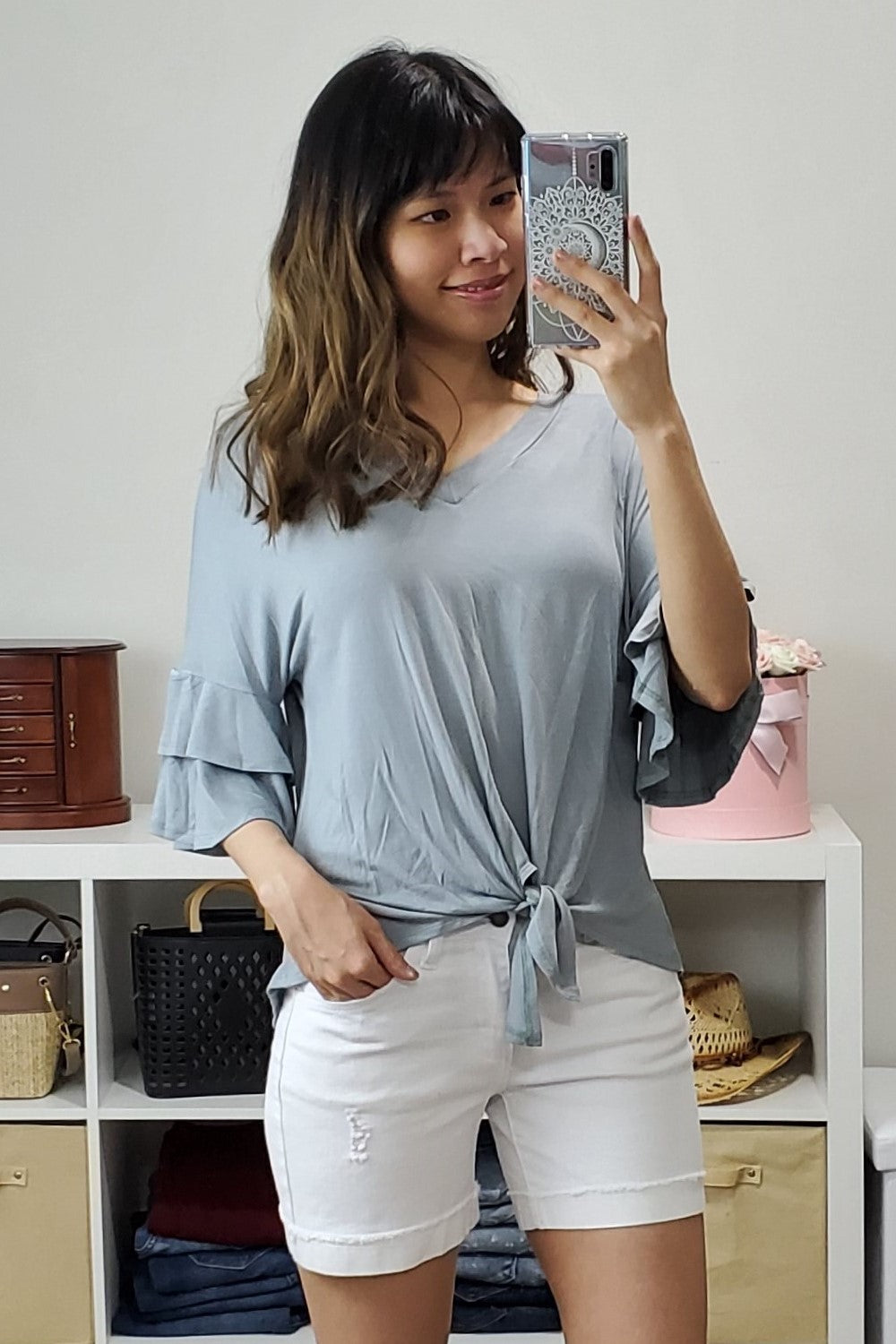 Ruffle Sleeve Tie Front Top - Lavender Latte Boutique