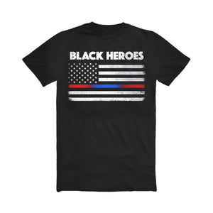 Red/Blue Striped Black Heroes T-Shirt