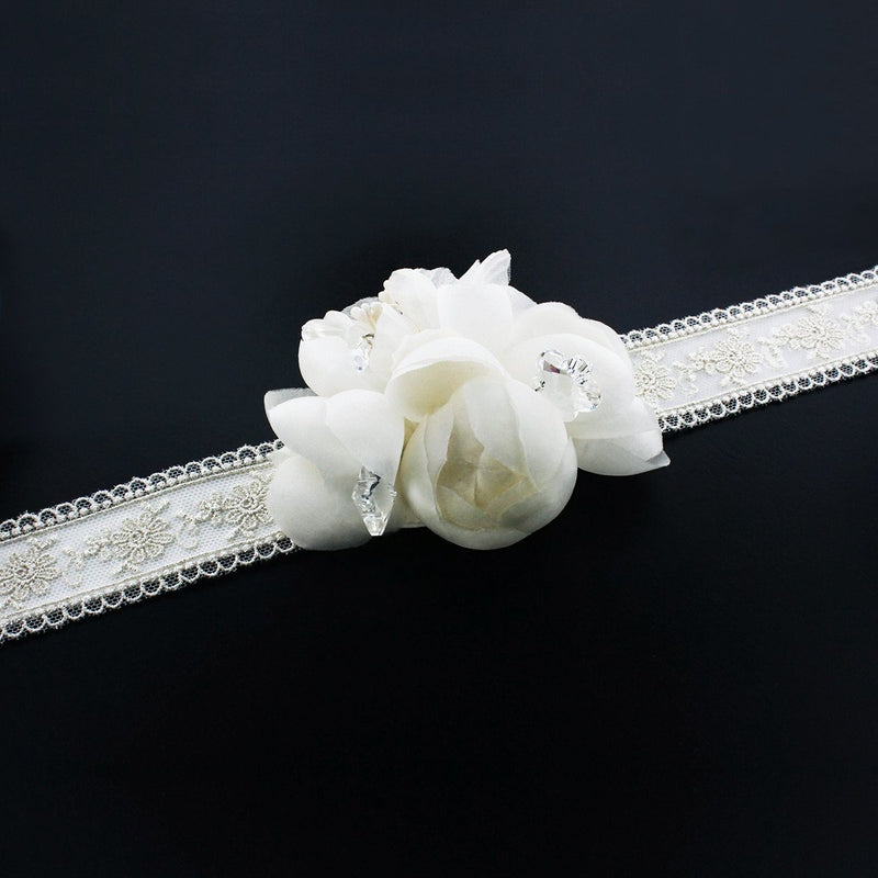Silk Flower Bridal Sash with Lace Overlay