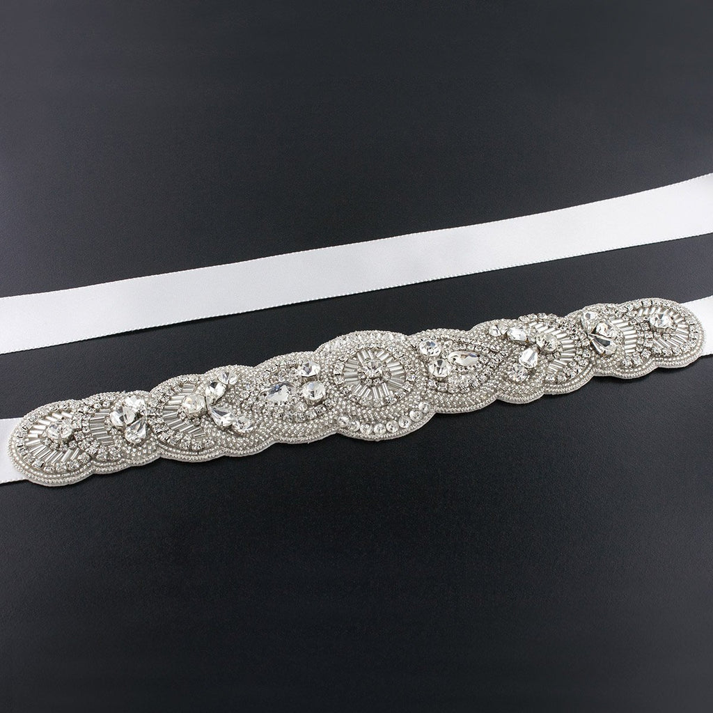 Scalloped Art Deco Bridal Sash - medium white