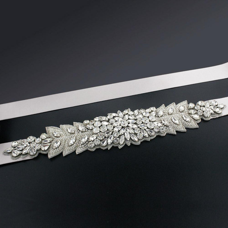Bridal Sash with Marquise Crystal Detailing - white