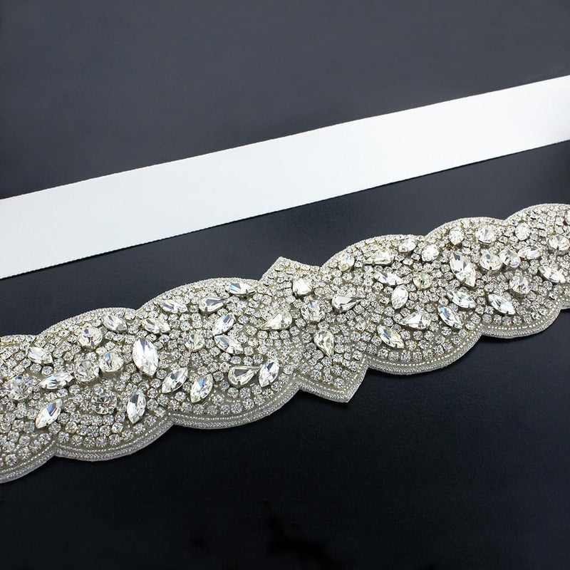 Bridal Sash with Detailed Crystal Applique