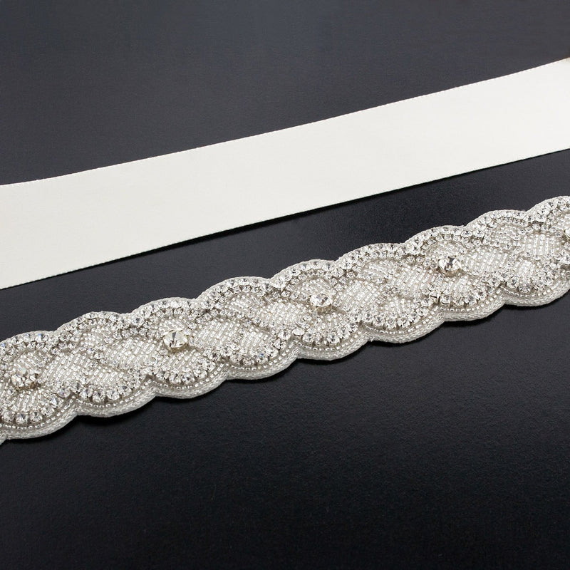 Sash with Scalloped Crystal Applique - medium white