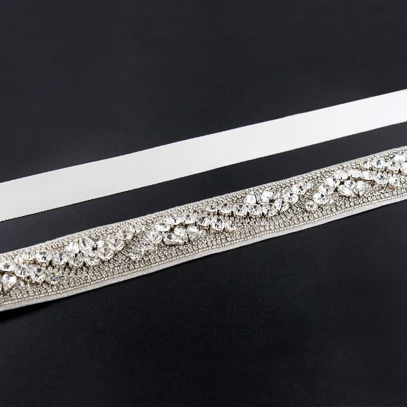 medium white rhinestone sash