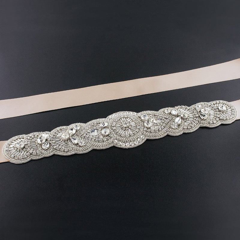 Scalloped Art Deco Bridal Sash - light blush
