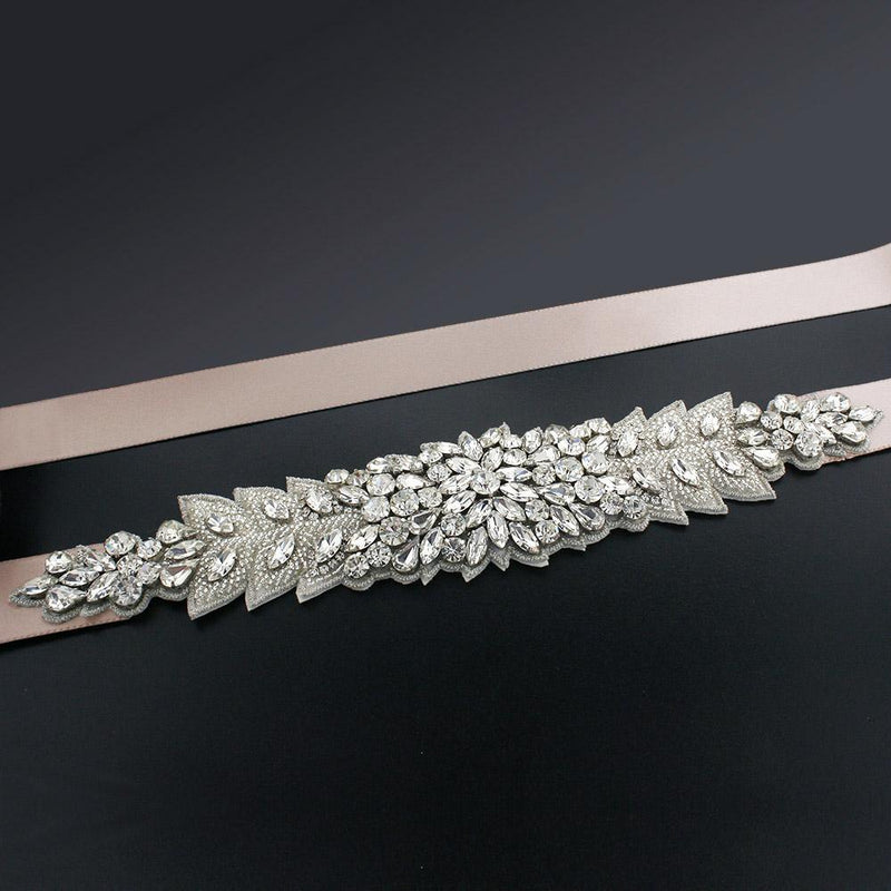 Bridal Sash with Marquise Crystal Detailing - light blush