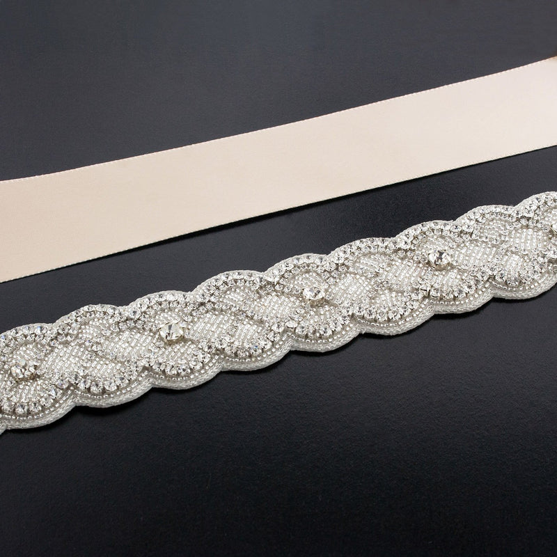 Sash with Scalloped Crystal Applique - light blush