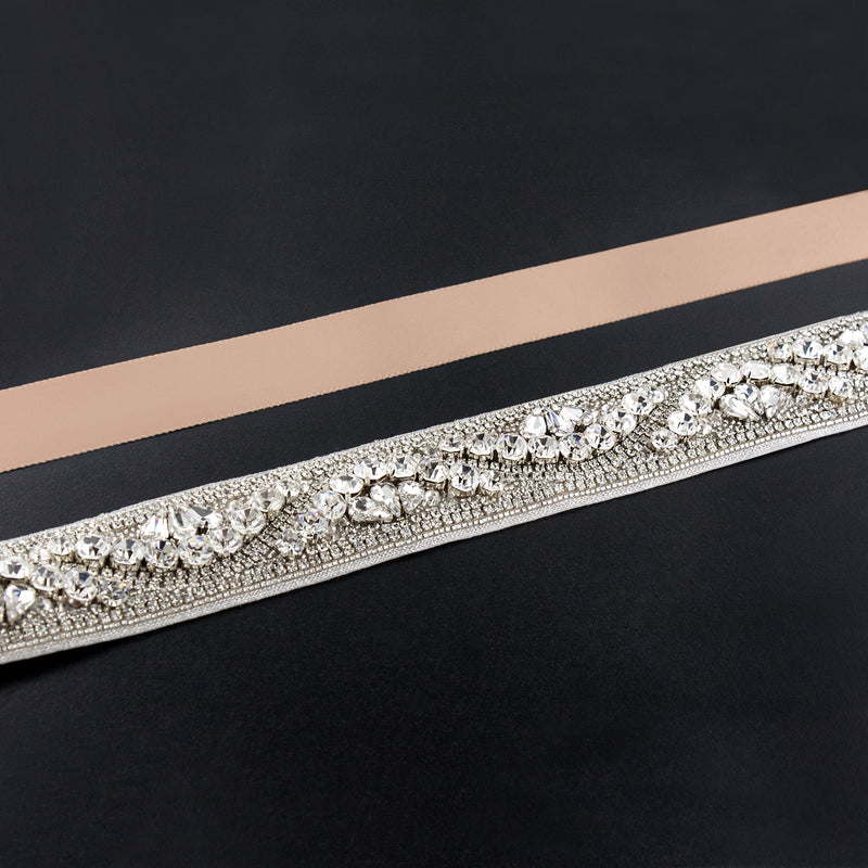 light blush rhinestone sash