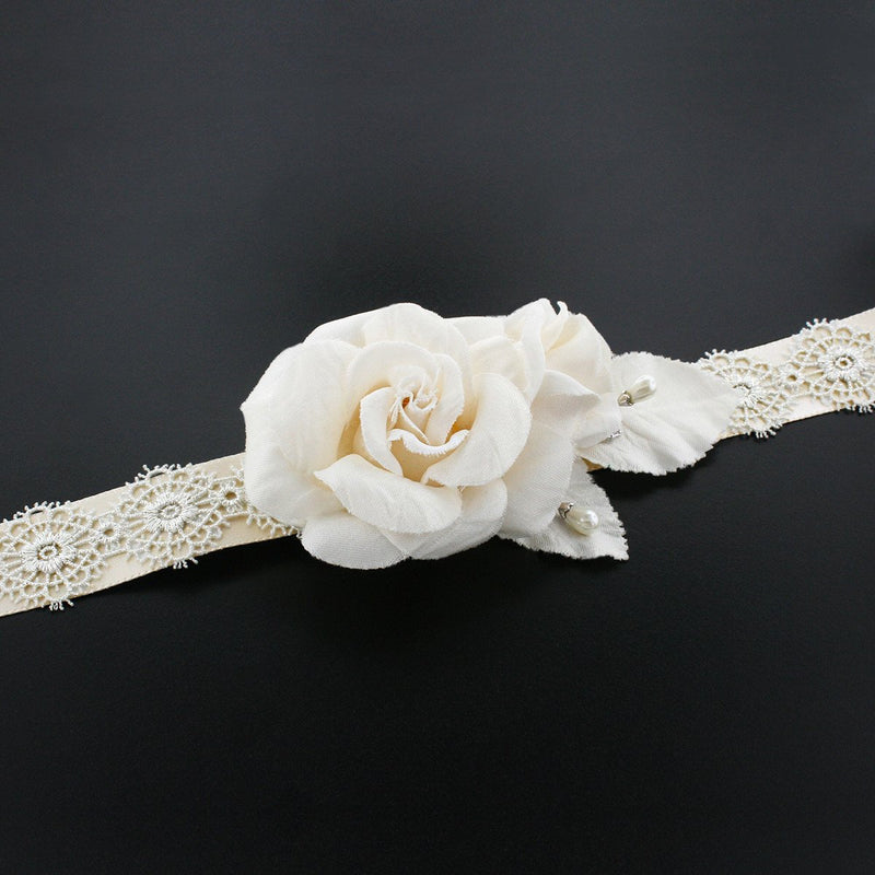 Wedding Sash with Silk Rose