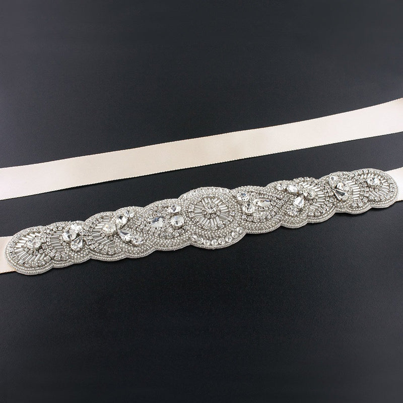 Scalloped Art Deco Bridal Sash - beige