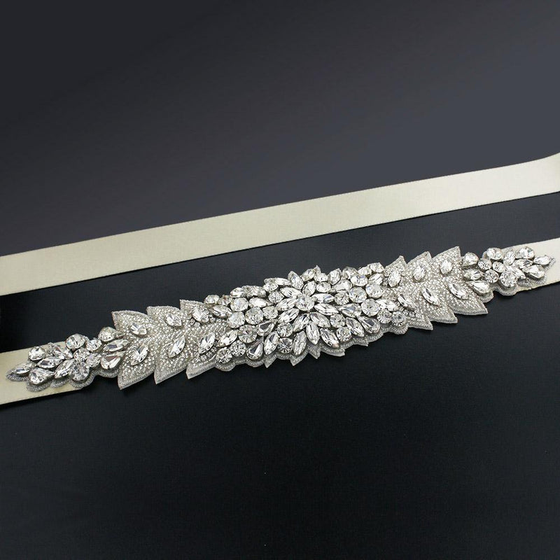 Bridal Sash with Marquise Crystal Detailing - beige