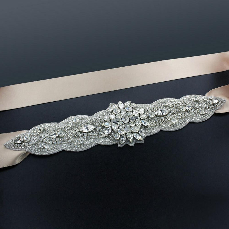 "Sash with 9"" Crystal Applique - Beige"