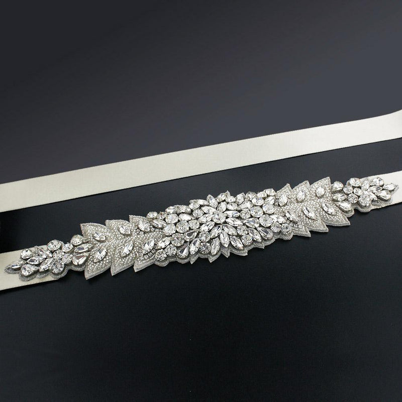 Bridal Sash with Marquise Crystal Detailing - ivory