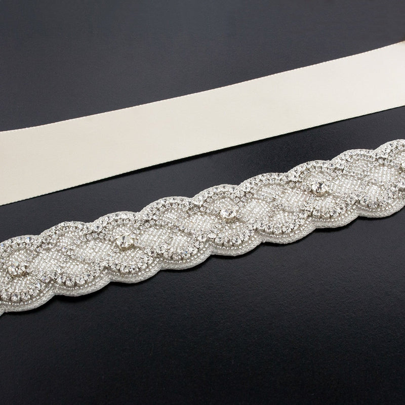 Sash with Scalloped Crystal Applique - ivory