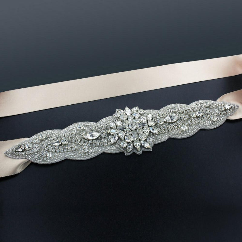 "Sash with 9"" Crystal Applique - Ivory"