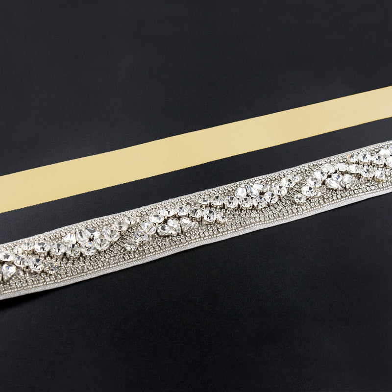 maize rhinestone sash
