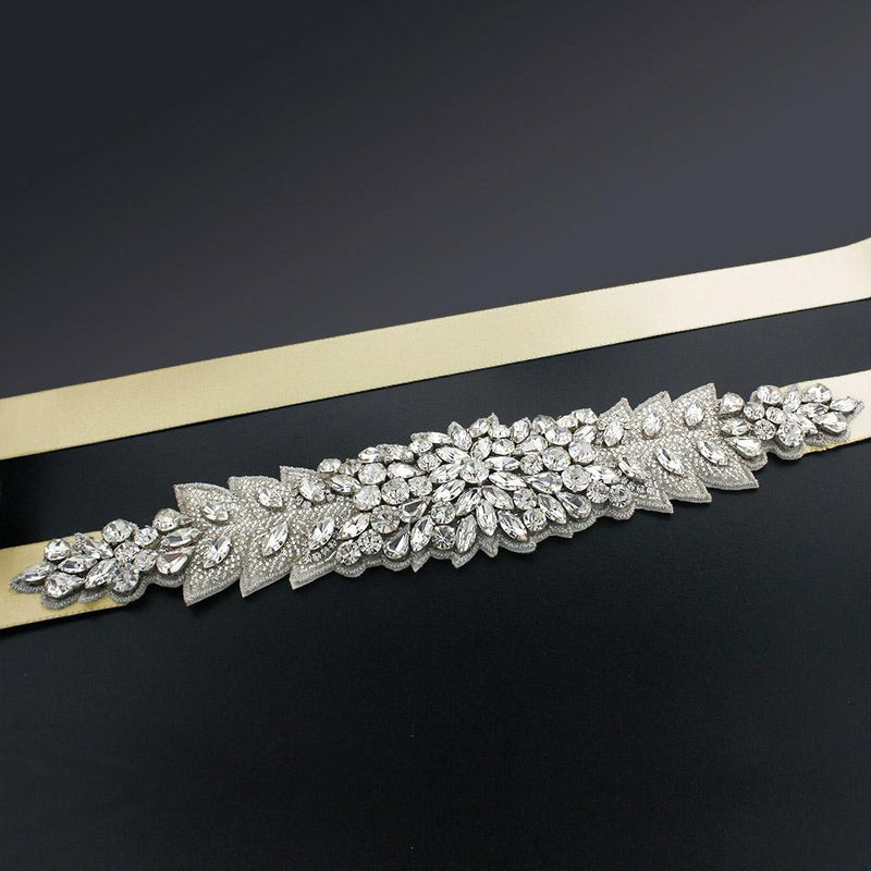 Bridal Sash with Marquise Crystal Detailing - maize