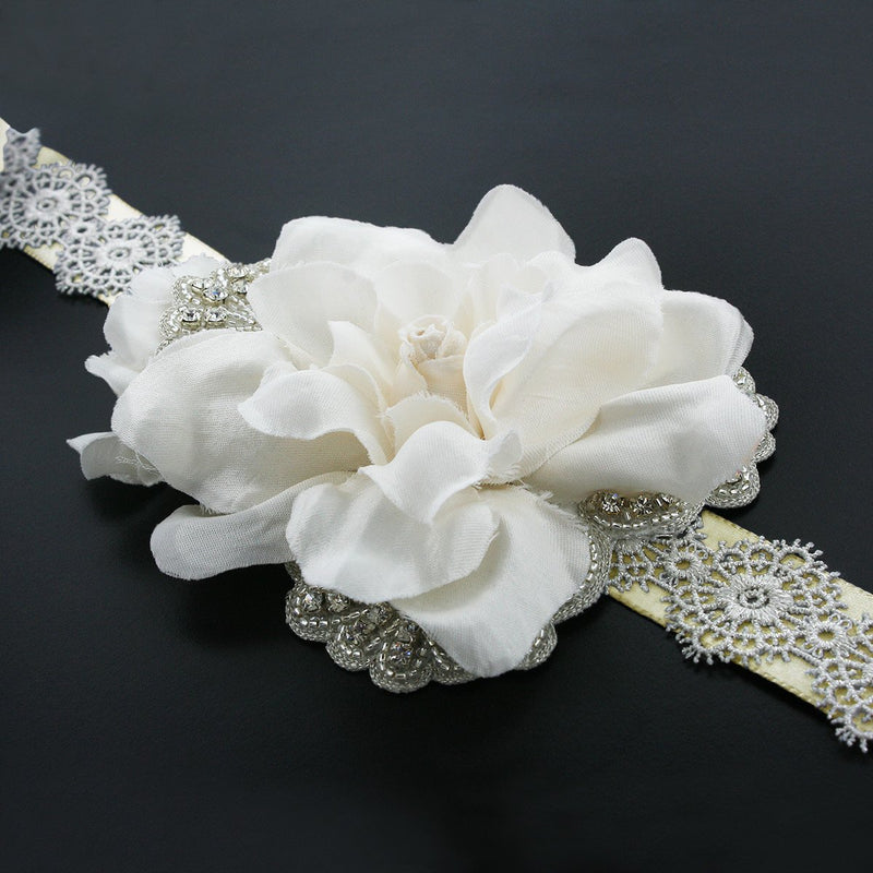 Wedding Sash with Silk Gardenia