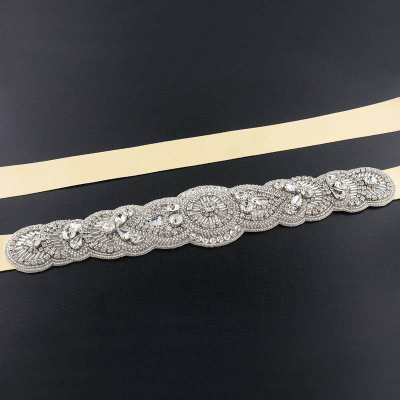 Scalloped Art Deco Bridal Sash - maize