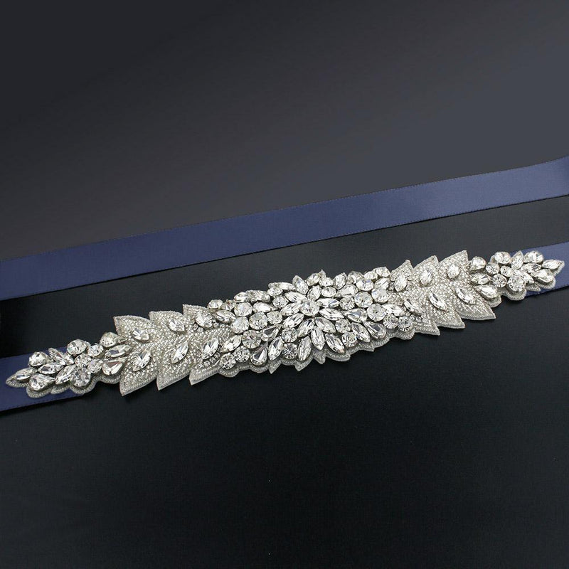 Bridal Sash with Marquise Crystal Detailing - Prussian blue