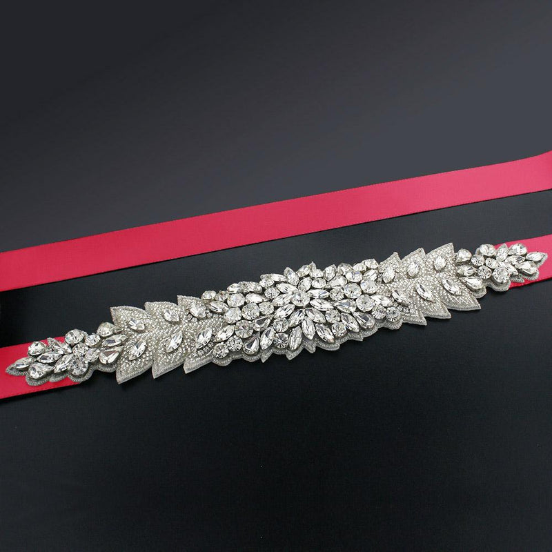 Bridal Sash with Marquise Crystal Detailing - crimson