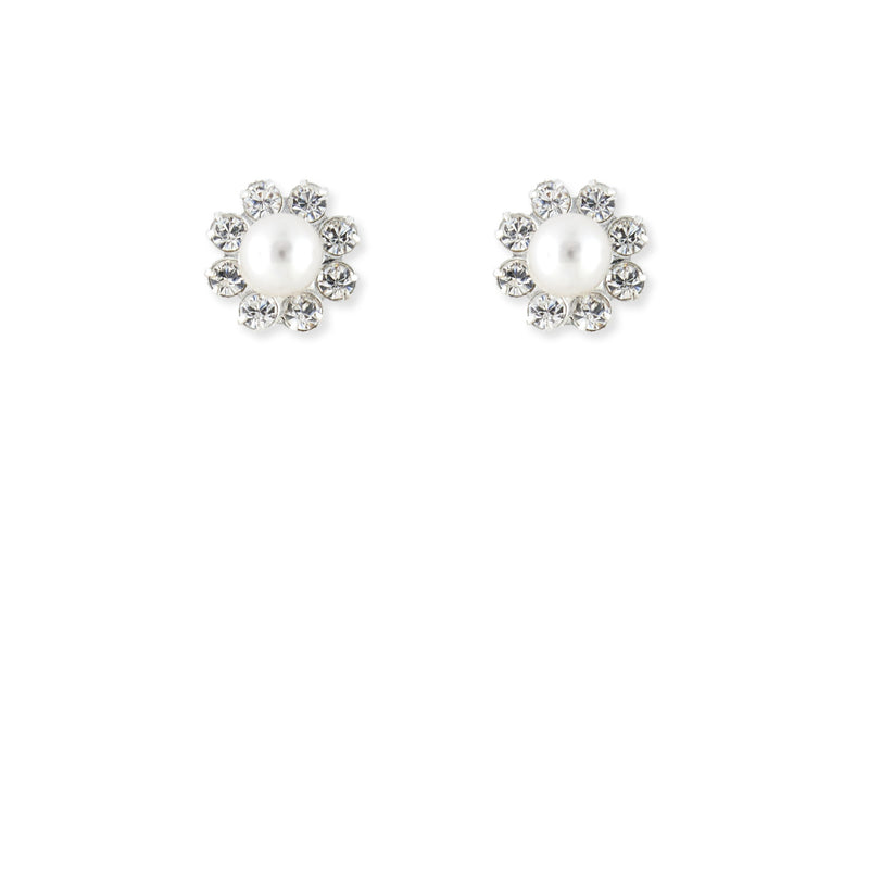 Pearl & Rhinestone Bridal Earrings - 1 flower