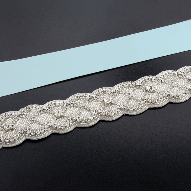 Sash with Scalloped Crystal Applique - powder blue