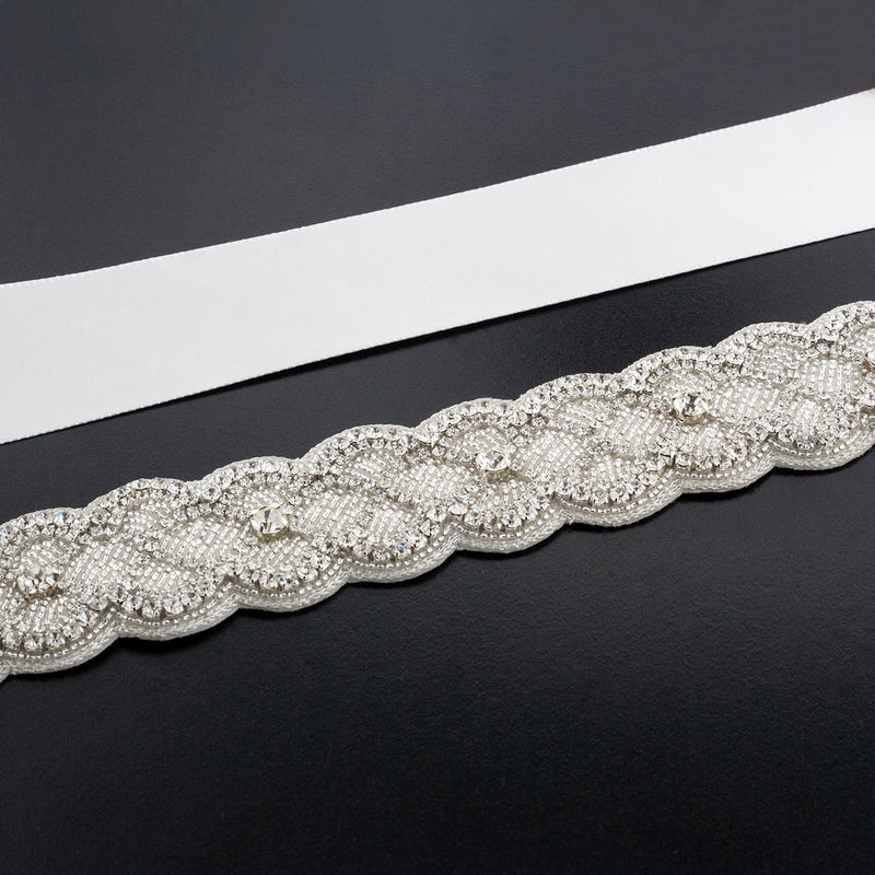 Sash with Scalloped Crystal Applique - ghost white