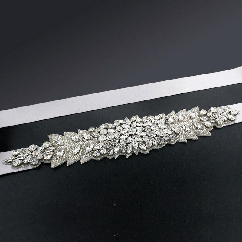 Bridal Sash with Marquise Crystal Detailing - ghost white