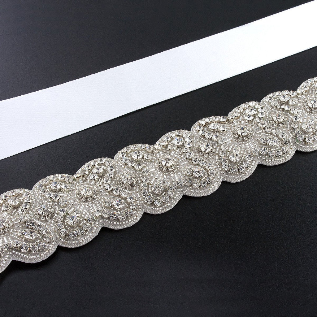 Sash with Scalloped Crystal Applique
