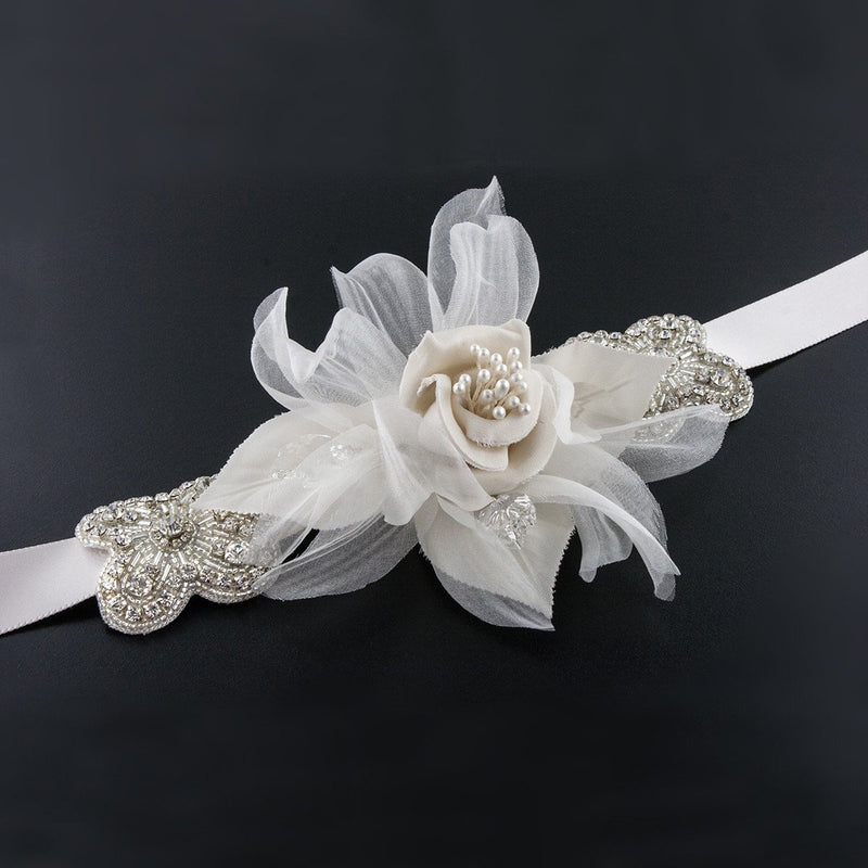 Sash with Silk Flower & Crystal Accents