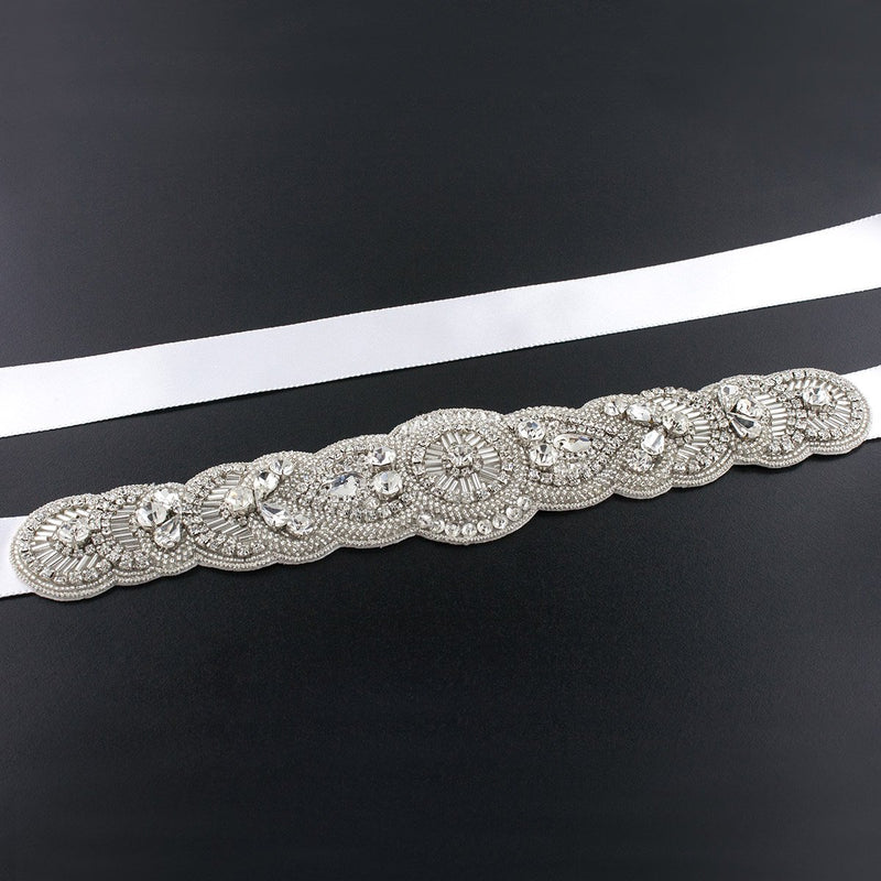 Scalloped Art Deco Bridal Sash - white