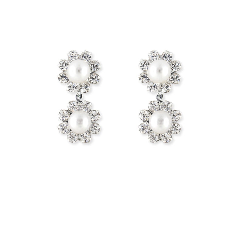 Pearl & Rhinestone Bridal Earrings - 2 flowers