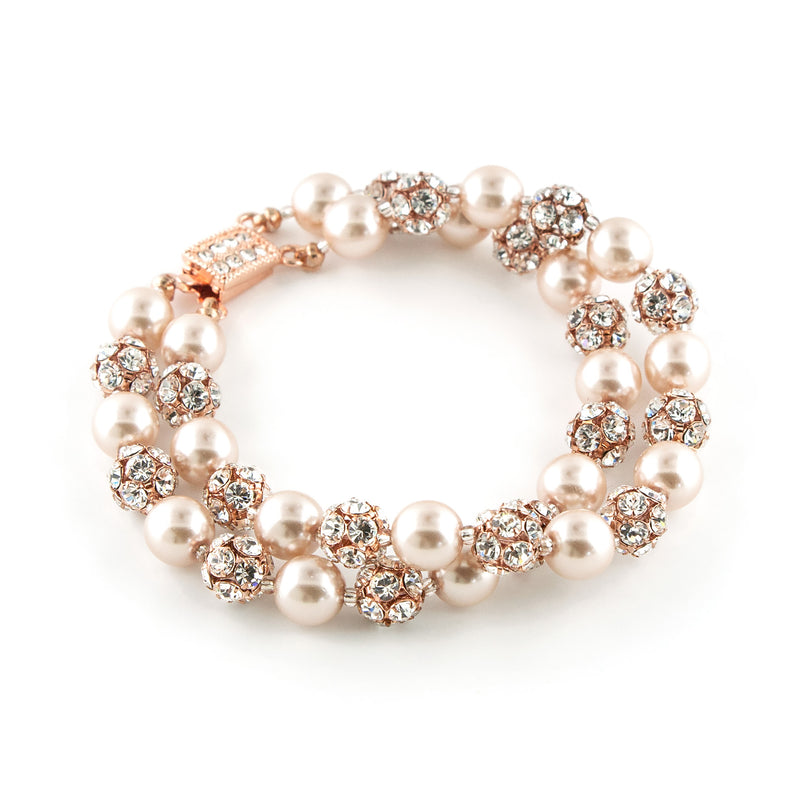 Two Row Rose Gold Pearl Bracelet