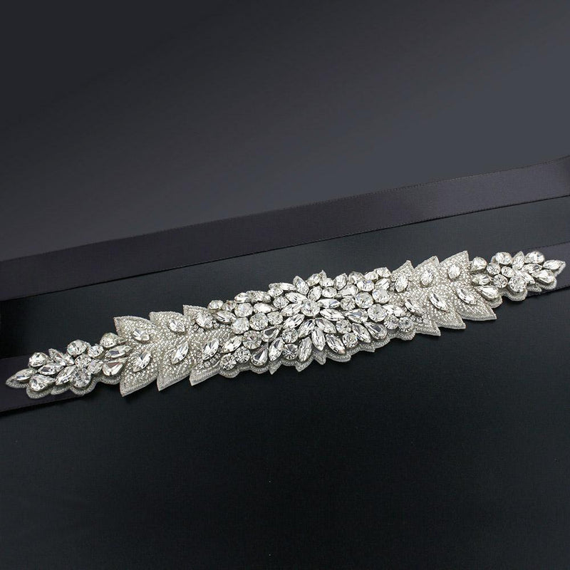 Bridal Sash with Marquise Crystal Detailing - black
