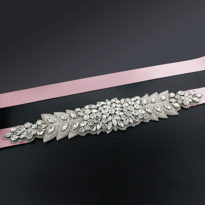 Bridal Sash with Marquise Crystal Detailing - salmon