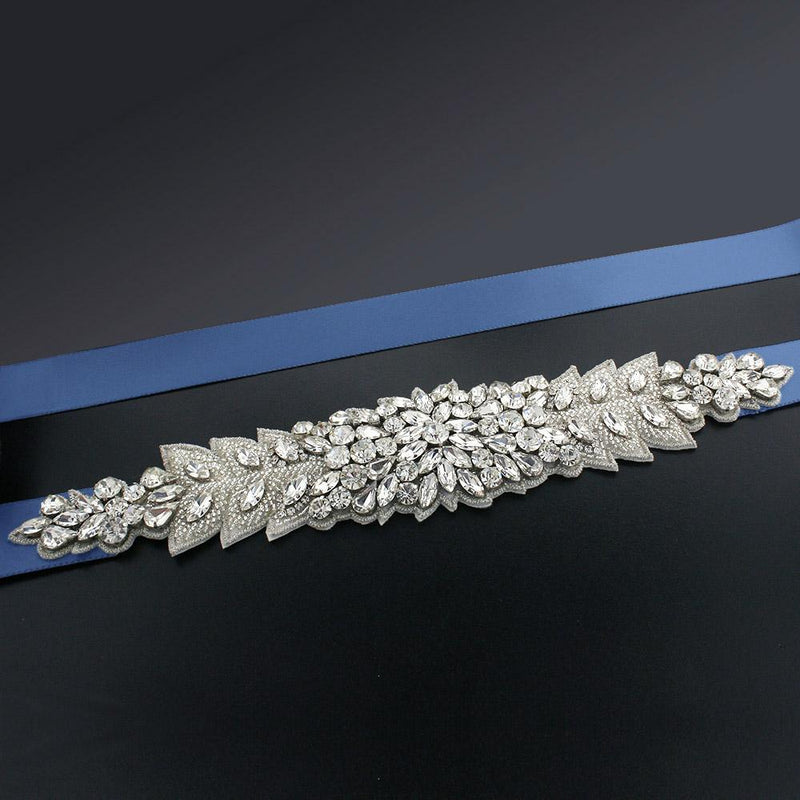 Bridal Sash with Marquise Crystal Detailing - Yale blue