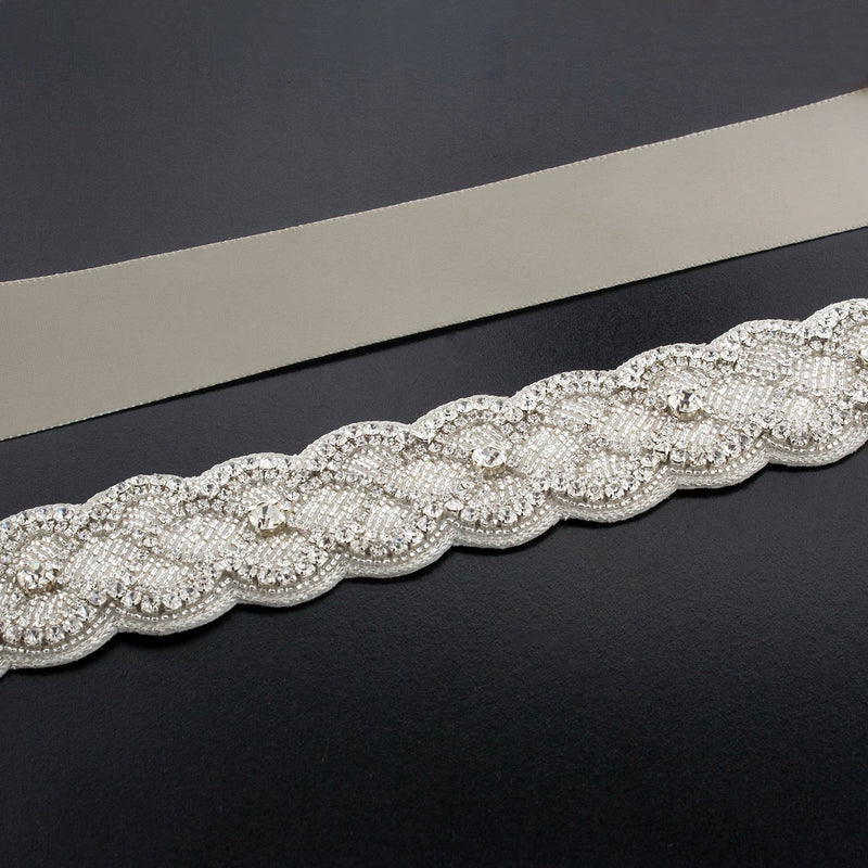 Sash with Scalloped Crystal Applique - coffee