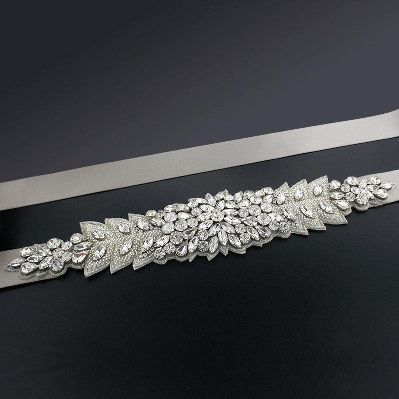 Bridal Sash with Marquise Crystal Detailing - coffee