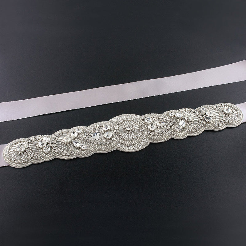 Scalloped Art Deco Bridal Sash - coffee
