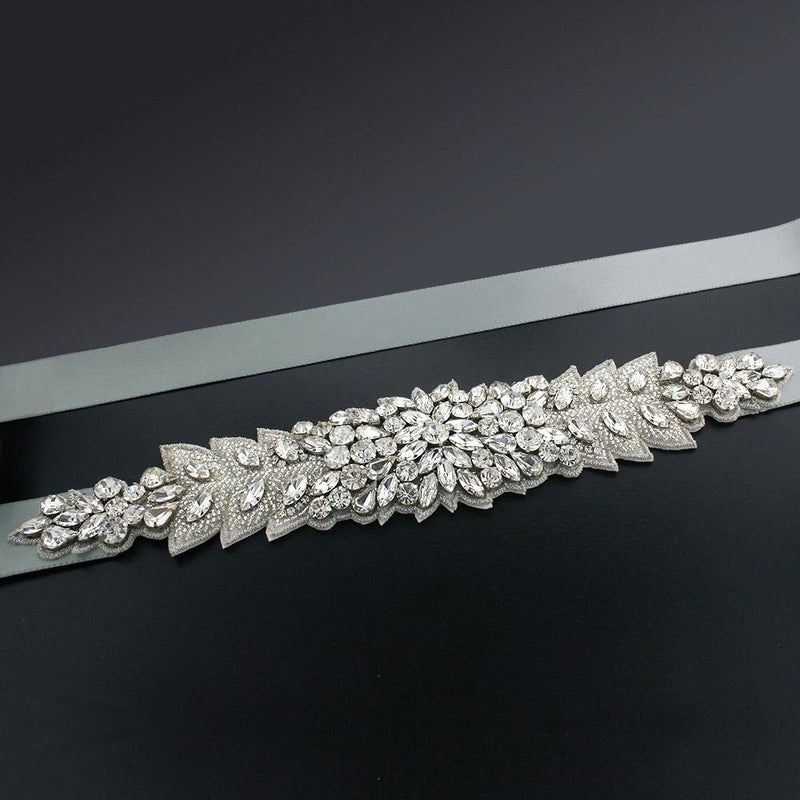 Bridal Sash with Marquise Crystal Detailing - taupe grey