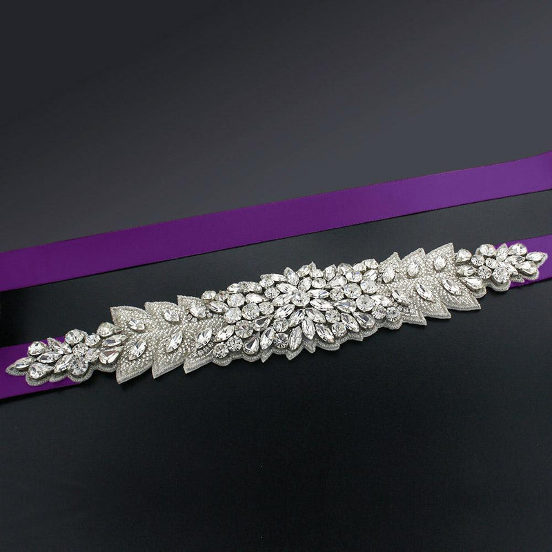 Bridal Sash with Marquise Crystal Detailing - eggplant
